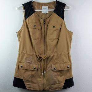 Guess Faux Leather Trimming Vest Brown/Tan(M)